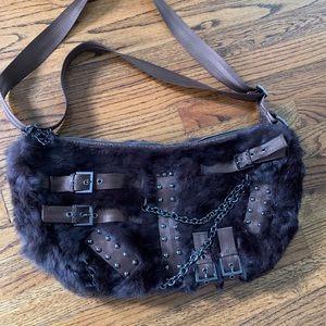 Designer BCBG Girls fur hobo bag carry all classic